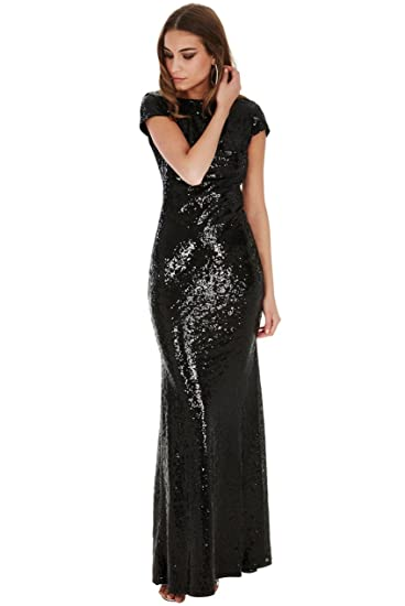 Goddiva Long Sequin Open Back Maxi Dress (Womens UK Size 10, Black)