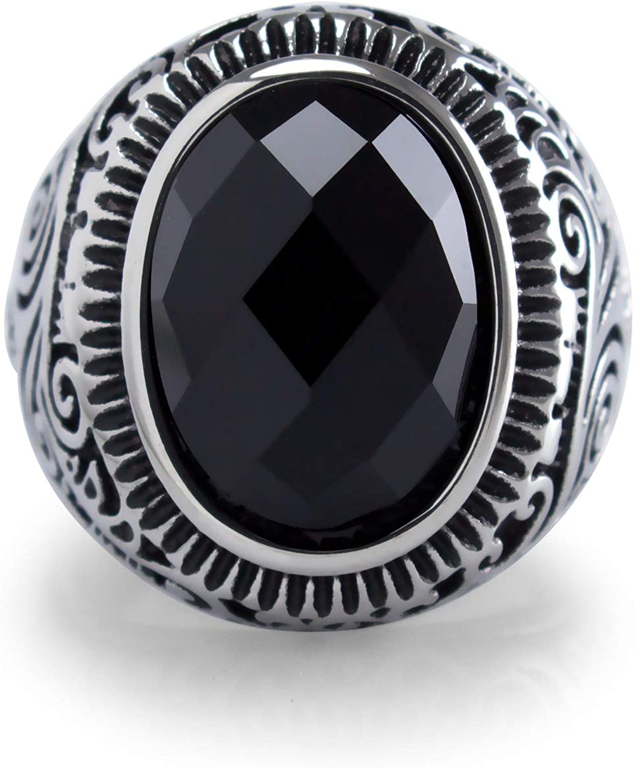 onyx and stainless steel ring