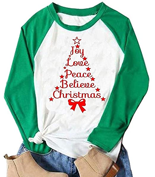 3174fa15 Amazon.com: Joy Believe Christmas Shirts Plus Size Long Sleeve Graphic  Christmas Tee Shirts Top for Women with Sayings: Clothing