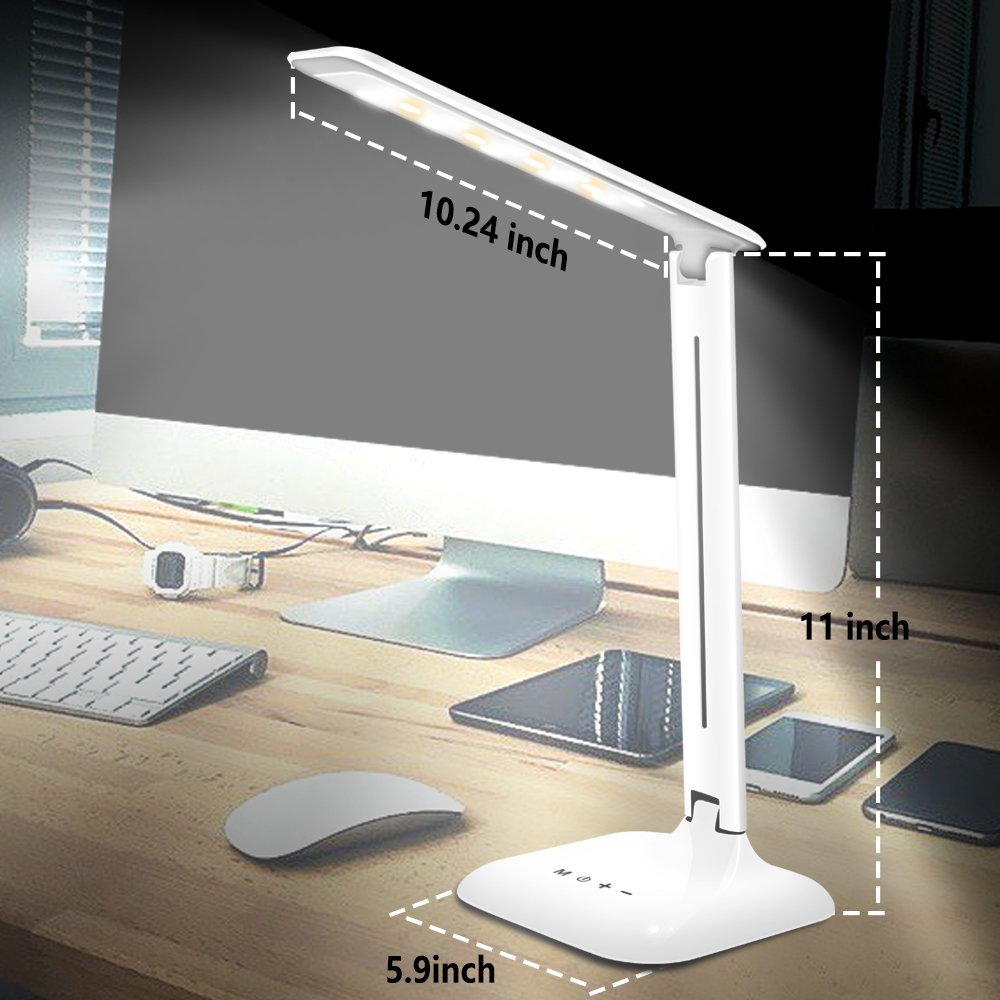 LED Desk Lamp, Lovin Product Dimmable Energy Efficient Table Lamps, Touch - Control/ 5-Level Dimmer/ 3 Color Modes; Foldable Eye-Caring Book Light for Reading (White) by LOVIN PRODUCT (Image #5)