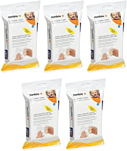 Medela Quick JiCGN Clean Breast Pump and Accessory Wipes, 24 Count (5 Pack)