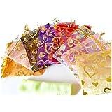 きれい オーガンジー ポーチ 巾着袋 アクセサリー 小物入れ ラッピング ハート型 カラフル 多種色 (100枚)