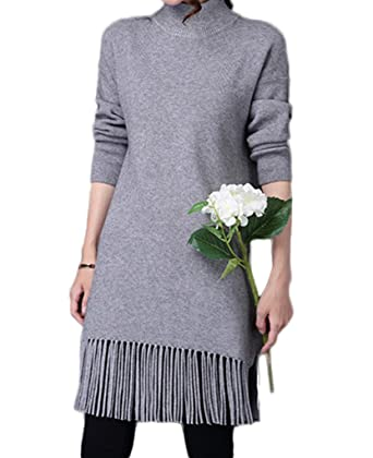 73f1852b63a2a Bigood Robe Femme Tricot Pull Frange Col Roulé Mi-Long Casual Mode Gris  Buste 90cm