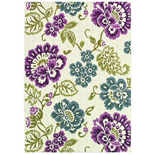D&H Beautiful Multi Girls Floral Pattern Area Rug (4' X 5'10), Gorgeous Pretty Flowers Theme, Adorable Fun Charming Style, Luxurious Comfort, Green, Blue, Plum Colored Floor Carpet (Rugs Coloured Plum)