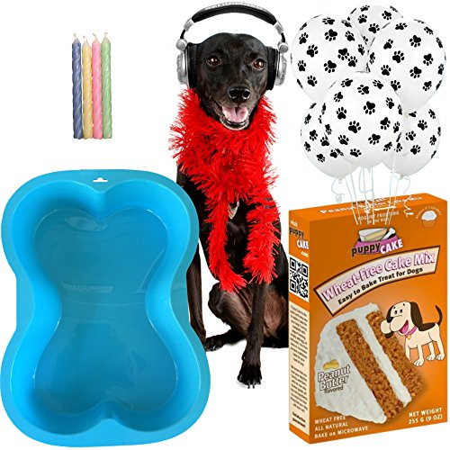 Ultimate Dog Birthday Party Supplies Kit - Blue Silicone Dog Bone Cake Pan (7 x 10 inches) - Puppy Cake Peanut Butter Wheat-Free Dog Cake Mix with Frosting - 6 Dog Paws Balloons - Birthday Candles