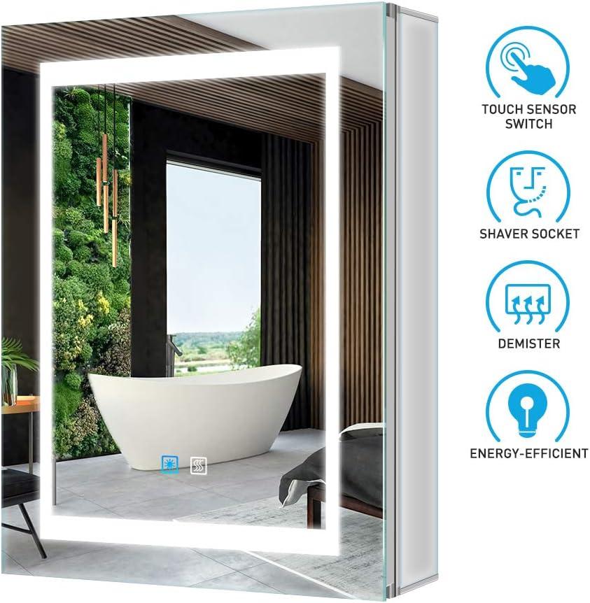 Tokvon Viewfinder Muebles de baño con luz LED Mueble de Espejo de Aluminio con Enchufe para máquina de Afeitar Interruptor de atenuador LED antivaho Puerta Doble 500x700 mm para Afeitar: Amazon.es: Hogar