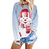 FIRMON Christmas Ladies Design Hoodie Sweatshirt,WomensAutumn Xmas Tree Letter Reindeer Print Tops Blouse T-Shirt