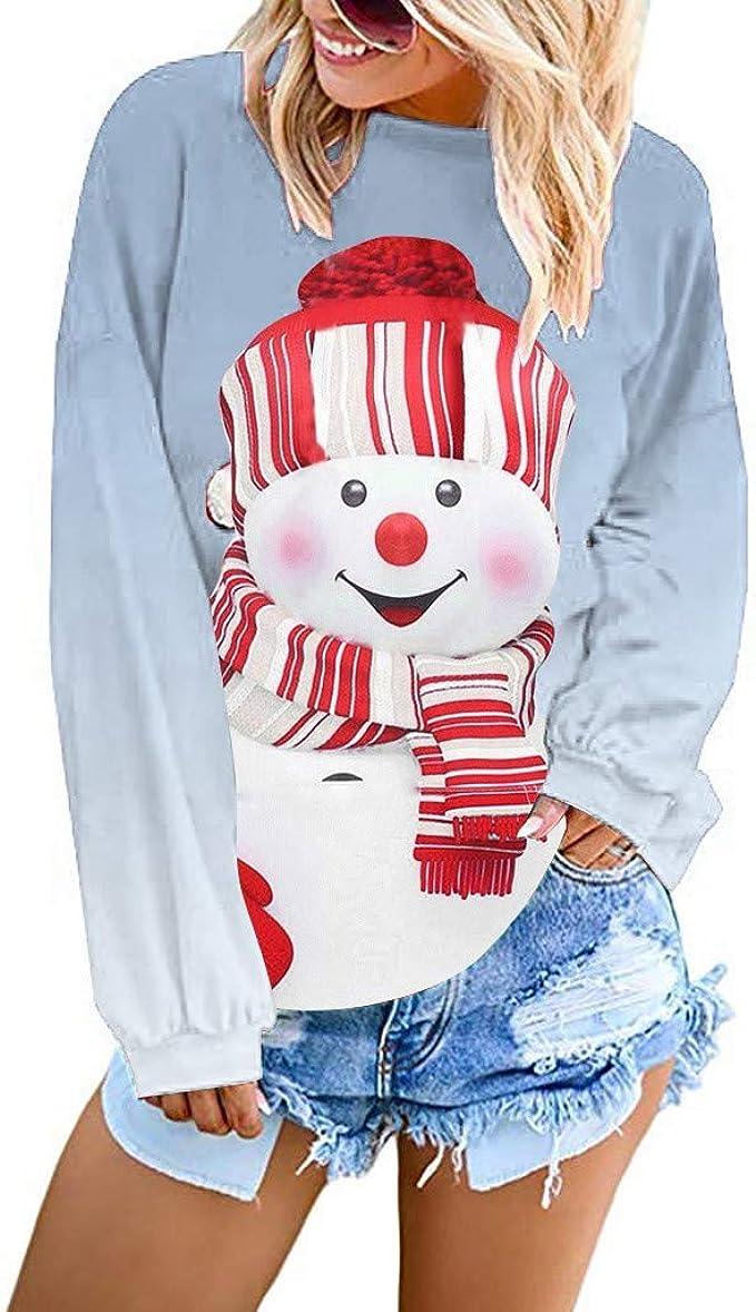 ALISIAM Sudadera de Navidad de Manga Larga para Mujer Sudadera con Capucha Estampada de mu/ñeco de Nieve Camiseta de Cuello Redondo de Moda Blusa Casual Oto/ño Invierno Tops C/álidos