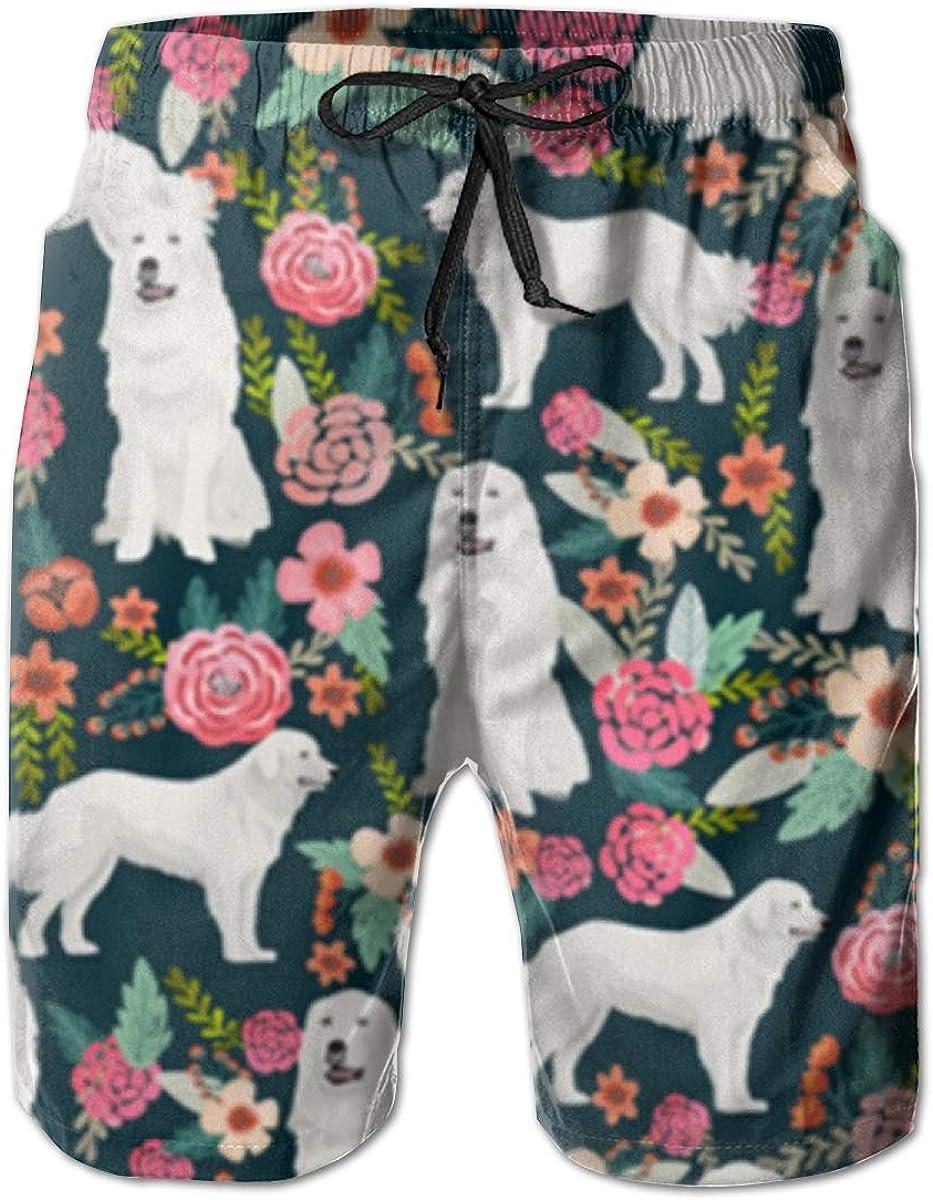 Great Pyrenees Dog Flower Mens Swim Trunks Beach Shorts with Mesh Lining Boardshort