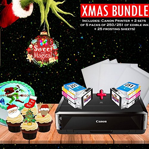 PRO 1-EDIBLE BUNDLE COMES WITH CANON PRINTE,2 SETS OF EDIBLE INK + 25 FROSTING SHEETS