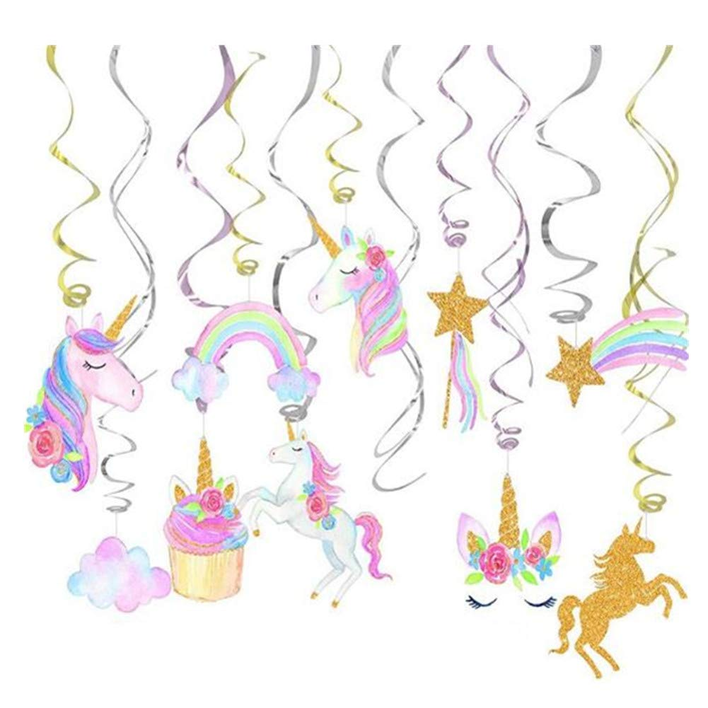 HAPPYTRY Horse Hanging Swirl Decorations, Cartoon Party Supplies 40pcs Set Glittery Foil Decor Kids Party Favors, Gold Pink Silver
