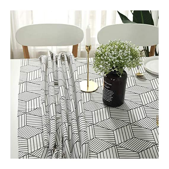 "SESTYLE Rectangle Tablecloth Geometric Style Cotton Linen Table Cloth Dust-Proof Table Cover for Kitchen Dinning Tabletop Decoration (Rectangle/Oblong, 52"" x 90"" (6-8 Seats), White) - Premium Quality Tablecloth: Manufactured from super, hard wearing cotton linen fabric, won't easily fray after long term use; an inherent quality of natural, handcrafted linen pieces, which only add to their beauty. Versatile Table Protector: This rectangular tablecloth is reminiscent of casual dining and perfect for everyday meals with the family, parties, birthdays or special holiday gatherings, indoor and outdoor use, weddings and more. Decoration Your Home: Add flowers, candles or a seasonal centerpiece to tables cape. and keep dust off and protect your table,tablecloth and furniture tops against scratches, scuffs, stains while still show the beauty of your table and furniture tops. - tablecloths, kitchen-dining-room-table-linens, kitchen-dining-room - 61YnZgthsXL. SS570  -"