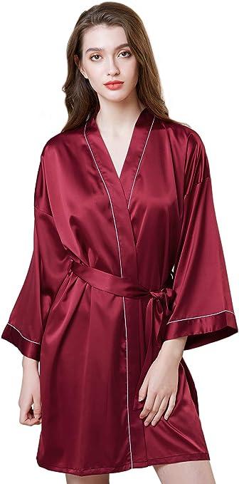 Casa Donna Raso Corto Chimono,Damigella Donore Colore Puro Seta Robes Indumenti Da Notte Sciolto Vestaglia,12 Colori