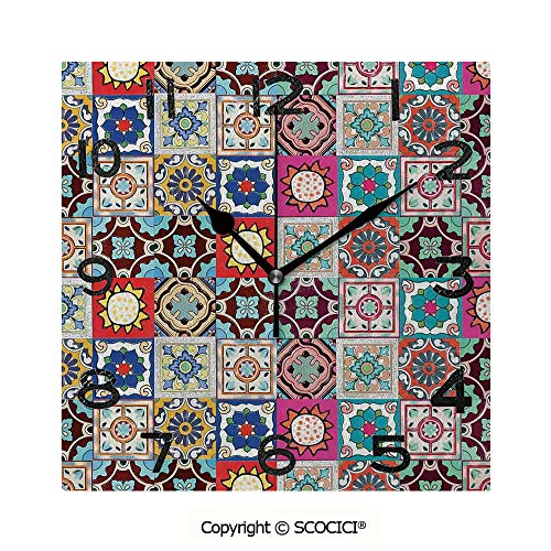 SCOCICI 8 inch Square Clock Collection of Ceramic Mosaic Tiles and Figures with Mathematical Geometric Artful Unique Wall Clock-for Living Room, Bedroom or Kitchen Use