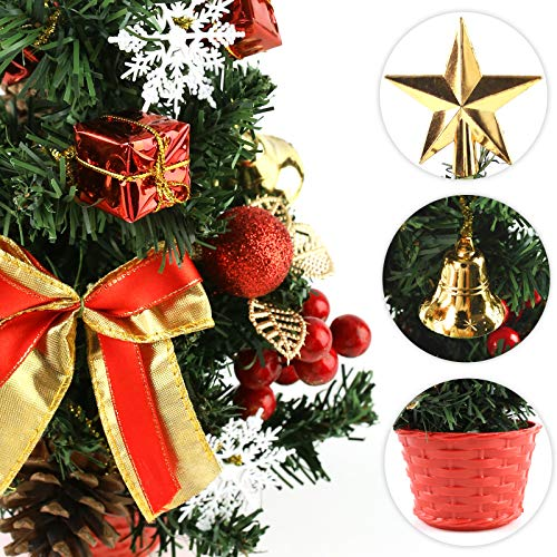 3 otters Mini Artificial Tabletop Christmas Tree, 14inch Desktop Christmas Tree Mini Christmas Tree 28PCS Christmas Desk Decorations Berries Bell Pine Cone