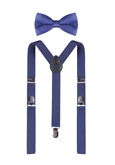 694f5a37850 ORSKY Men s Suspender Adjustable Y Back with Bowtie Set Elastic Blue at  Amazon Men s Clothing store