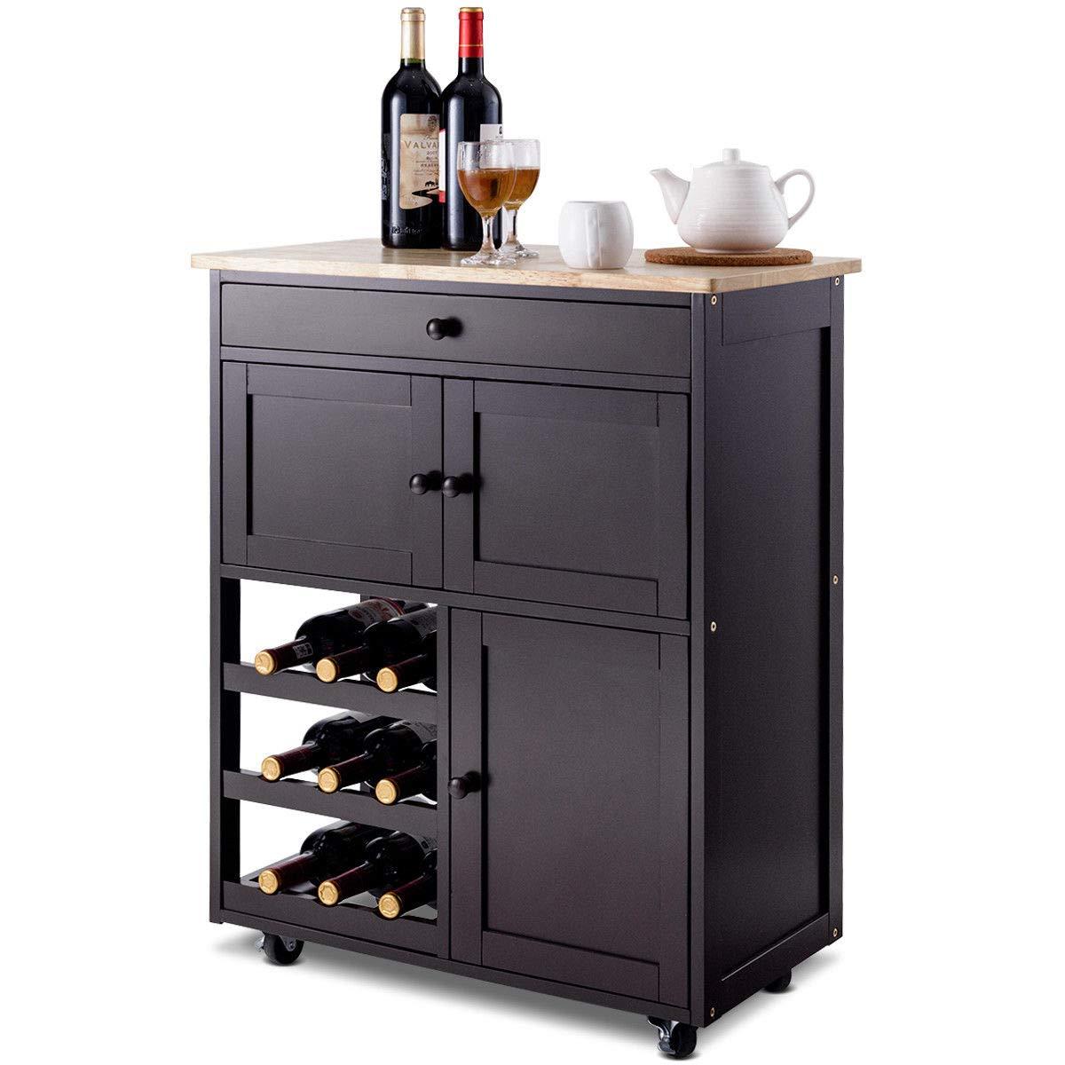 Giantex Modern Rolling Kitchen Trolley Cart w/Drawer & Wine Rack Storage Cabinet Home Restaurant Island Serving Cart w/Wheels (Brown) HW56608BN