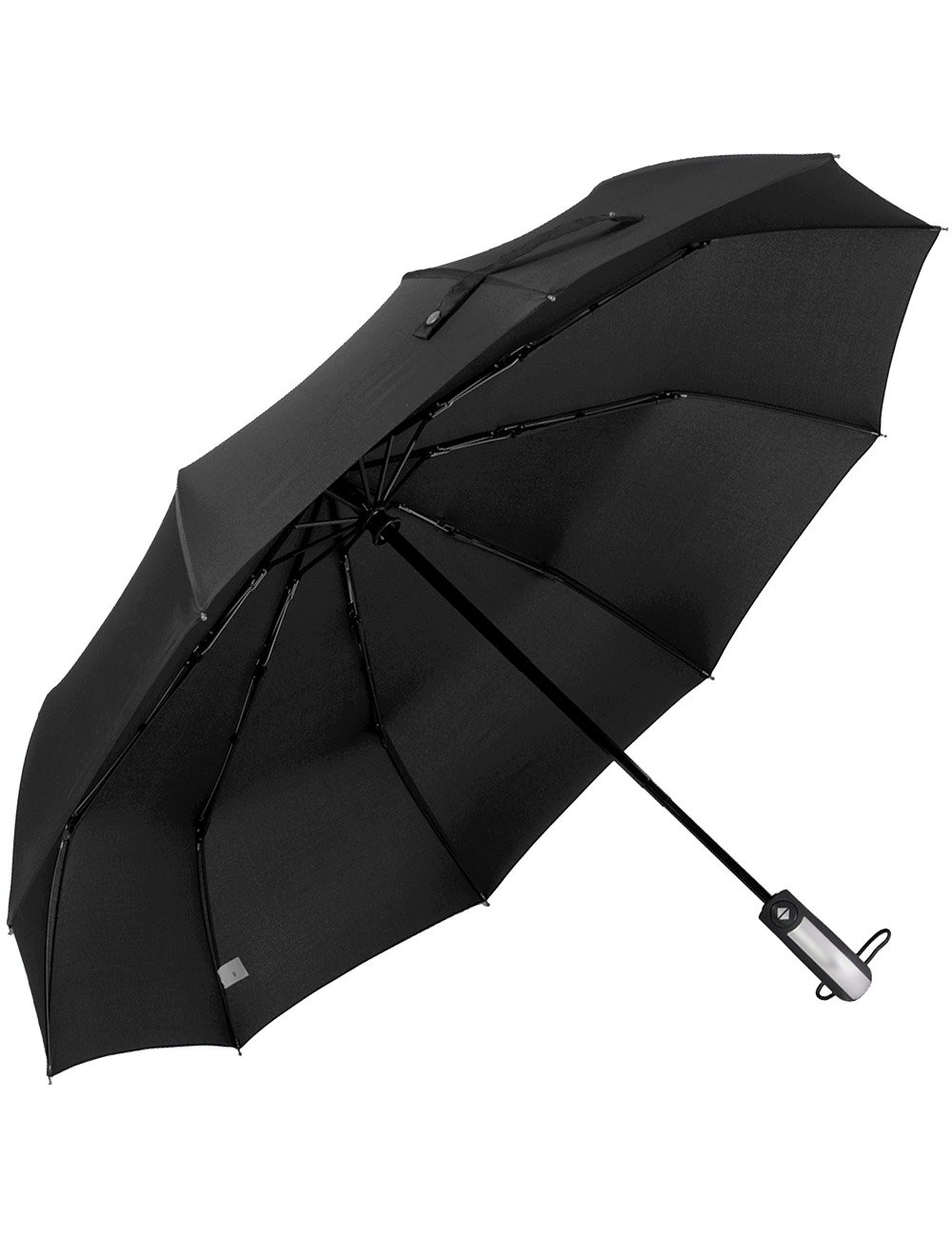 Beownwear Travel Umbrella Windproof Folding Automatic Umbrellas 10 Ribs(Black)