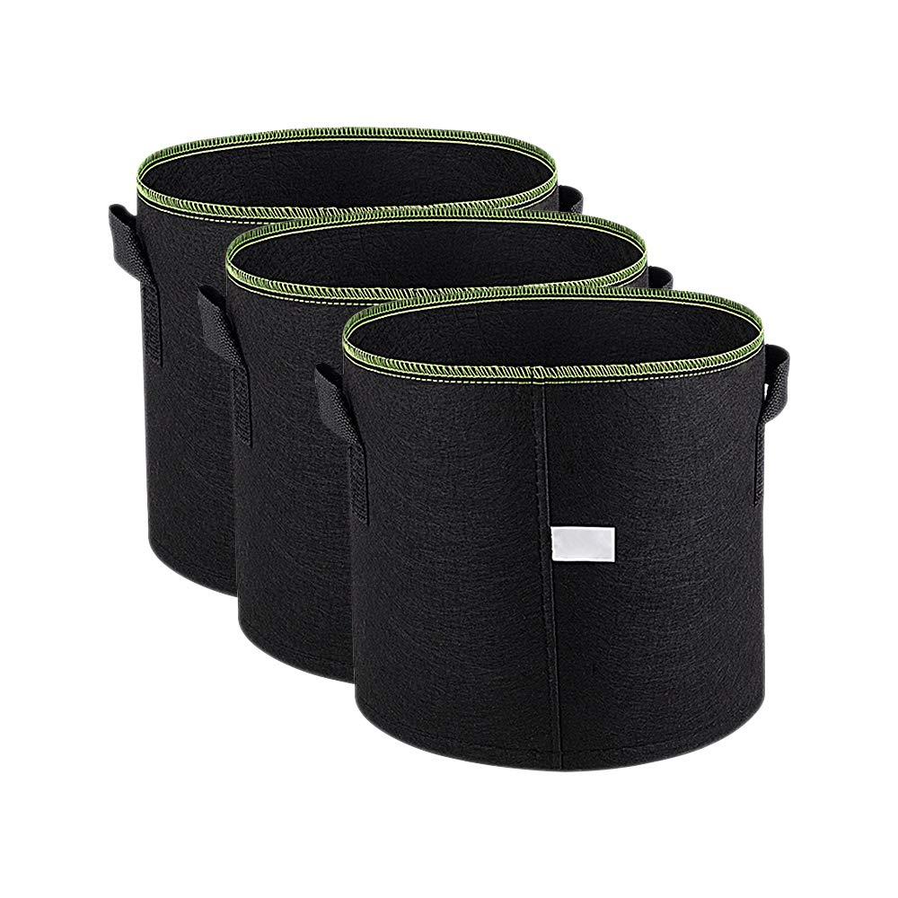 11 Litri // 3 Galloni Verde Linea YOFASEN 3 Pezzi Sacchi per Piante di Tessuto Non Tessuto Morbidi e Traspiranti con Maniglie per Piantare Giardini Sacchetto di Crescita delle Piante