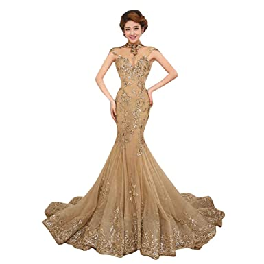 Sunlong Shiny Mermaid Pageant Dresses 2015 Formal Mermaid Prom Gowns Gold Uk 22