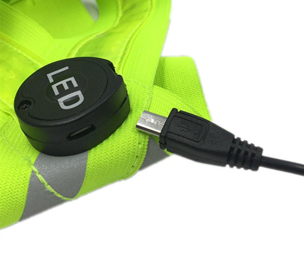 3modes USB rechargeable lampe LED chien Marche–Vert Fl Entièrement réglable et universelles: Course à Pied moto de sécurité Boyovo Gilet réfléchissant haute visibilité pour tous les Jour et Nuit avec une étiquette didentification durgence, vélo