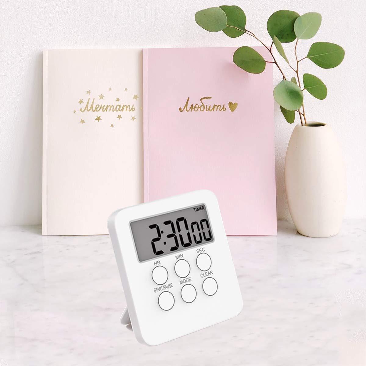 BESTONZON temporizador de alarma silencioso con contador de tiempo y bater/ía no incluida color blanco