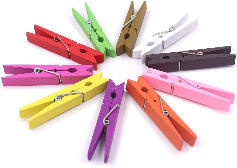 Z Zicome 3-Inch Large Natural Colorful Wooden Clothespins, Set of 50 Pins, Assorted Colors