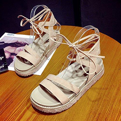 RUGAI-UE Las mujeres sandalias de verano zapatos simple estudiante Pink