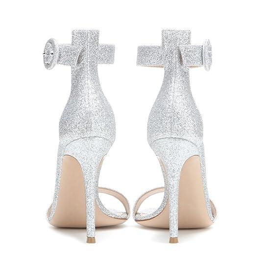 À De Cheville Artisan Sandales Haut Chaussures 100mm Elégants Couleurs Simples Femmes Des Talon Edefs Argenté Fashion Lanière Bride BordCxe