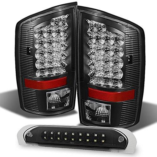 For Dodge Ram 2002-2006 1500 | 2003-2006 2500/3500 Truck Black LED Tail Light+Black 3Rd Brake Cargo Lamps