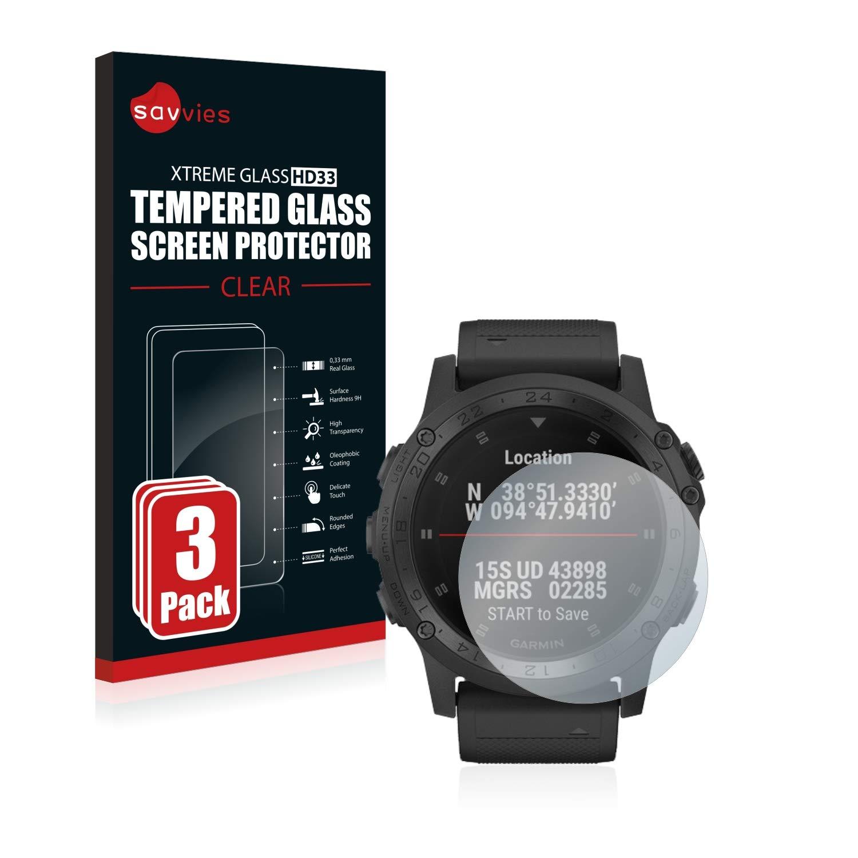 Savvies Vetro Temperato Compatibile con Garmin Tactix Charlie Pellicola Protettiva Durezza 9H 3 Pezzi