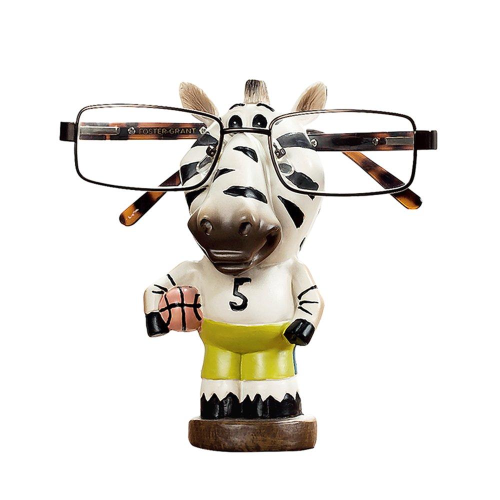 RockTrend Home Decor Desktop Accessory Cute Animal Zebra Shape Resin Eyeglasses Sunglasses Holder Spectacle Display Stand-White&Green