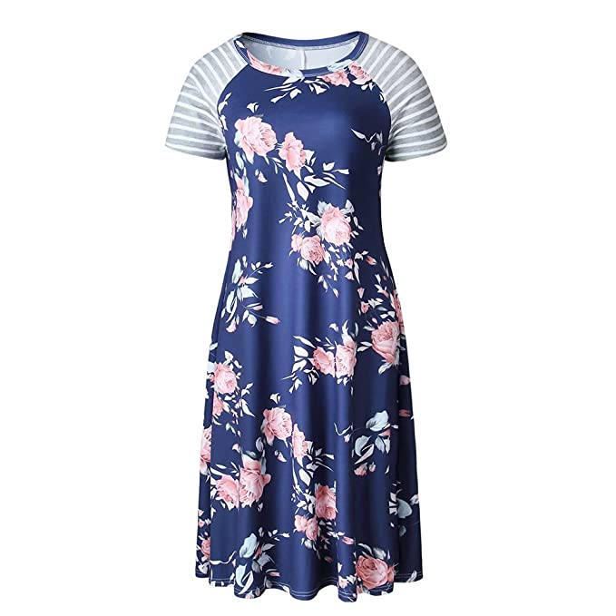 Vestido informal con estampado de flores Vestido mini estampado con manga corta a rayas