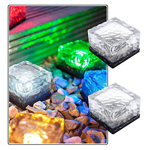 CTKcom 2 Pcs LED Solar Lights Path Ice Cube Lights Waterproof Color Changing Solar Powered LED Crystal Frosted Glass Brick Rock Landscape Lamp in-Ground Buried Lights for Garden Path Yard Patio Pond