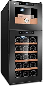 Cigar Humidor Cooler Constant Temperature Control Humidity Double Door Cabinet Hold up to 50 Cigars and 15 Bottle Wine