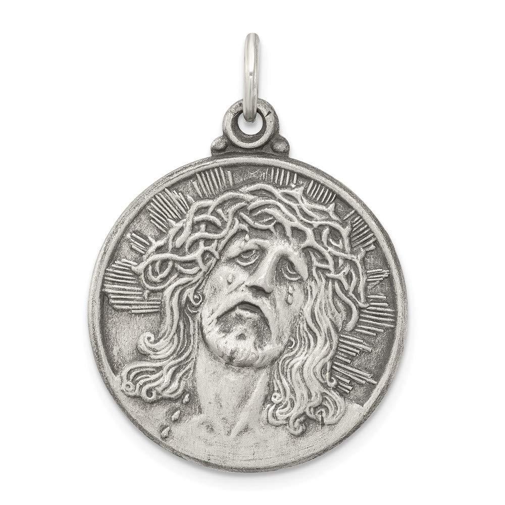 ソリッド925スターリングシルバーantiqued-style Ecce Homo Medal ( 23 mm X 31 MM   B076BLKS17
