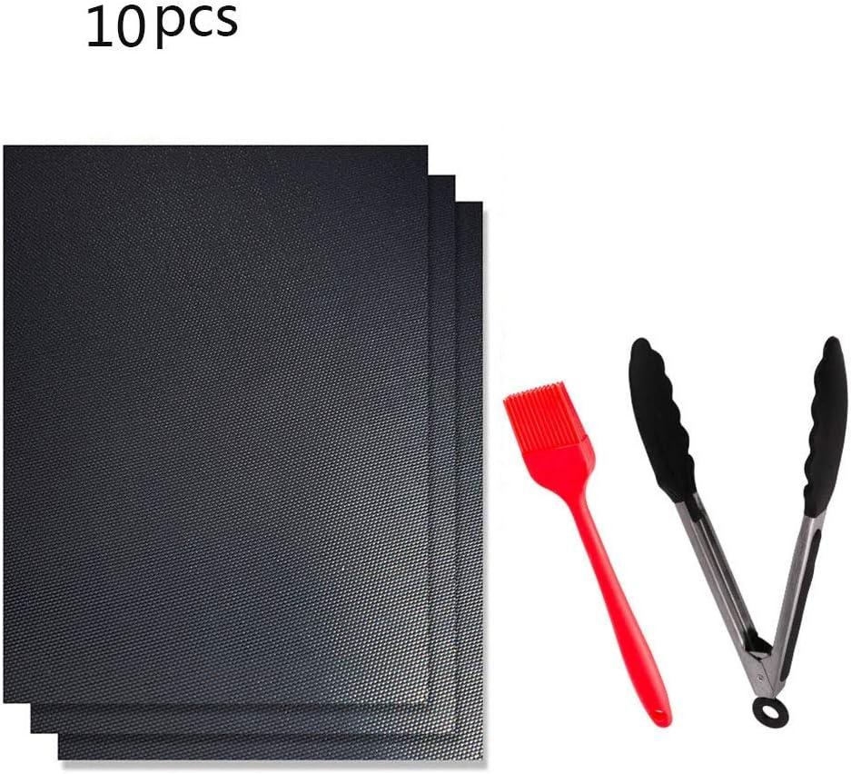 ASKLKD Parrilla Mat Conjunto de 5, Palo reutilizable y fácil de no CleanBarbecue La parrilla del carbón de leña con barbacoa Accesorios Pinzas y Cepillo de silicona Alfombra antiadherente para barbaco