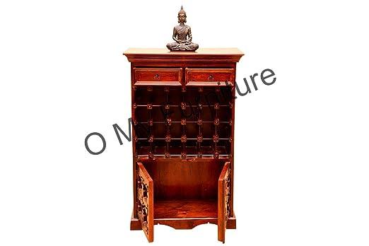 O My Furniture Antique Two Door Teak Finish Bar
