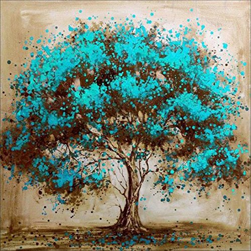 MXJSUA 5D Diamond Painting by Number Kit DIY Full Round Drill Cross Stitch Embroidery Rhinestone Picture Craft Art for Home Wall Decor Blue Flower Tree 12x12inch (Stitch Cross Family Tree)