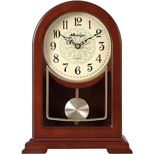 QFQ Reloj de Mesa silencioso de Madera Maciza de Color castaño ...
