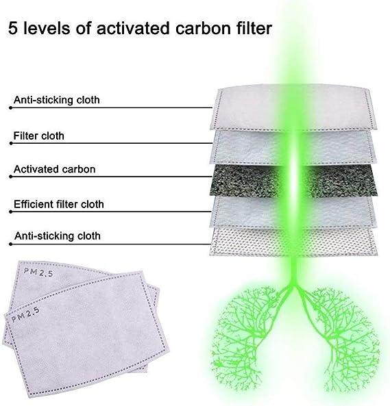filtro de carb/ón activo para bicicleta equitaci/ón al aire libre motocicleta Pandiui23 10 Juego de filtros PM 2.5 antipolvo para mascarilla 5 capas esqu/í