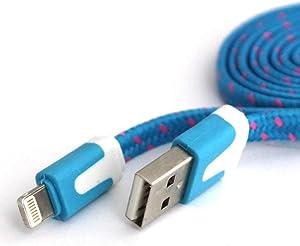C&C Mini 8 INCH Flat Nylon Braided USB Data Sync Charger Cable for iPhone 6, 6 Plus, 5, 5s, 5c, iPad 3,4, iPad Mini, air 2,3, Touch 5, Nano 7 (Light Blue)
