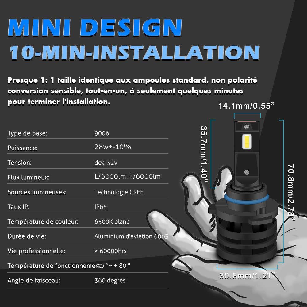 KaTur H1 LED Ampoules de Phare Mini-Conception am/élior/ée puces CREE 12000 lumens Kit de Conversion de phares /étanche Tout-en-Un /à LED 55W 6500K Xenon White-2 Ans de Garantie