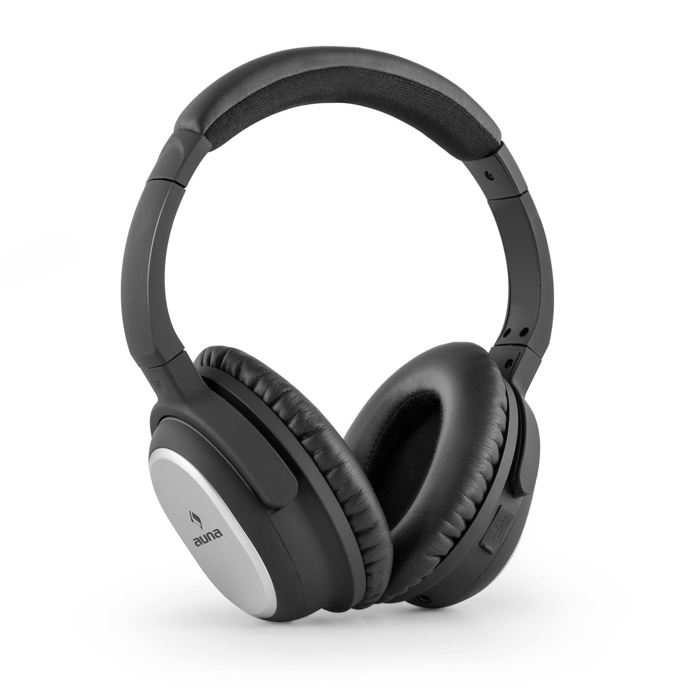 Auna BNC-10 Binaural Diadema Negro, Plata Auricular con micrófono - Auriculares con micrófono (Binaural, Diadema, Negro, Plata, Inalámbrico y alámbrico, ...