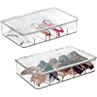 mDesign Plastic Rectangular Stackable Storage Organizer Holder Box with Attached Hinged Lid for Sunglasses, Eyeglasses, Reading Glasses, Fashion Eye Wear, 2 Pack - Clear