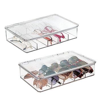2a1328621b mDesign - Caja organizadora apilable para anteojos; guarda gafas de sol,  lentes de lectura - Claro - Paquete de 2: Amazon.es: Hogar