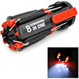 Multi-screwdriver 8 in 1 Multi-function Screwdriver Kit, Tool Kit Set + 6 LED light Torch