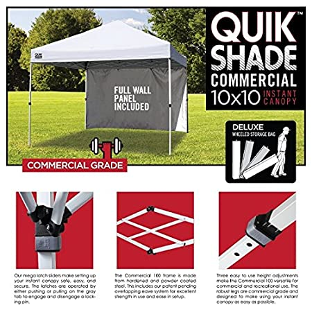 Amazon.com Quik Shade Commercial C100 10u0027x10u0027 Instant Canopy with Wall Panel - White Sports u0026 Outdoors  sc 1 st  Amazon.com & Amazon.com: Quik Shade Commercial C100 10u0027x10u0027 Instant Canopy with ...