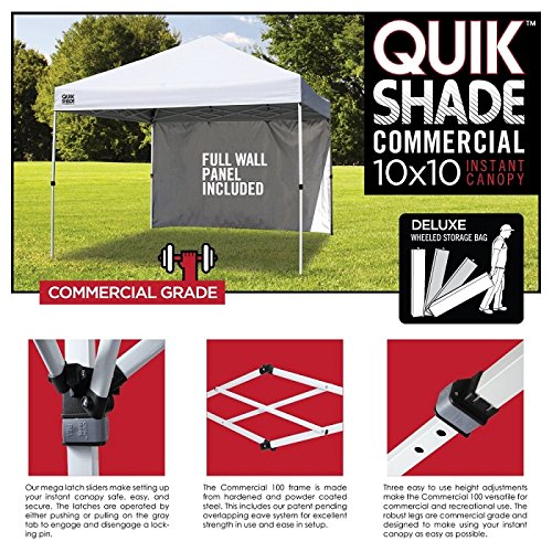 Quik Shade Commercial C100 10'x10' Instant Canopy with Wall Panel - White by Quik Shade (Image #3)