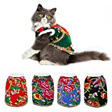 Pet Cat Dog Costume Apparel - Chinese Floral Cheongsam Style - Winter Warm Puppy Kitten Coat Jackets Vest - Pet Clothes for Christmas Xmas Holiday as Gift by Triumilynn